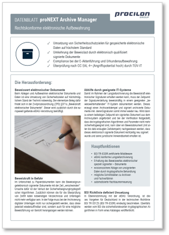 procilon Datenblatt proNEXT Archive Manager